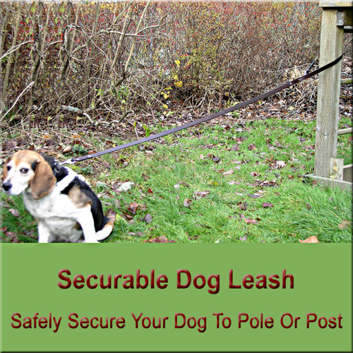 Securable leather dog leash in six foot length.