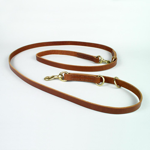 Natural oil color multifunctional leather dog leash six foot length.