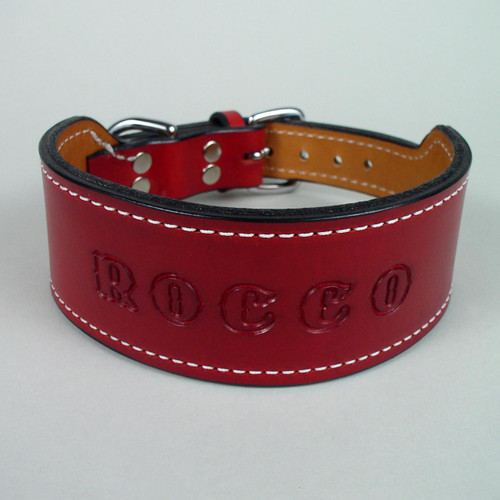 Tapered leather dog collar with imprinted name dyed in same color as leather.