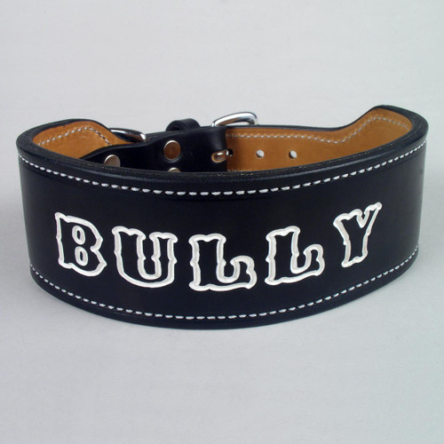 Black wide rugged dog collar with white lettering for imprinted name.