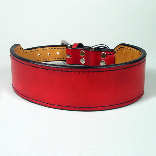Red leather wide rugged dog collar sewn with black harness thread.