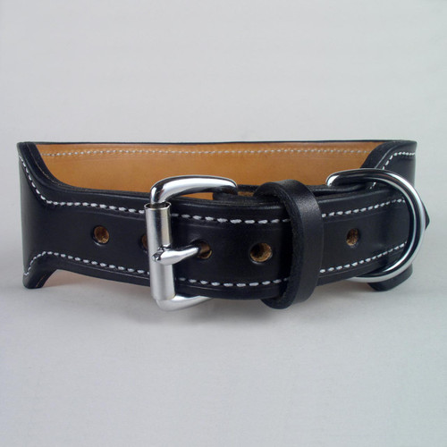 Rugged leather dog collar with sturdy harness roller buckle and D ring.