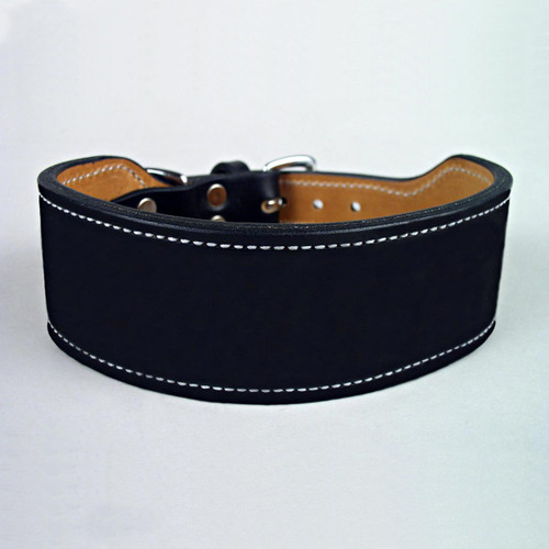 Double thick leather rugged dog collar sewn with white harness thread.