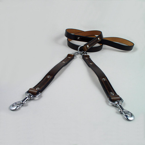 Brown sturdy leather dog coupler leash six foot length.