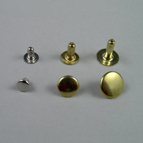 Size comparison of rivets for leather from left to right: small, medium, large