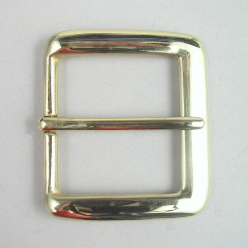 Solid brass belt buckle inside diameter is 1 1/2 inch.