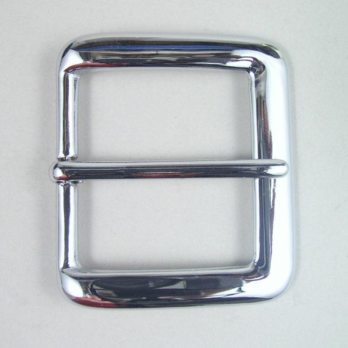 Chrome belt buckle inside diameter is 1 1/2 inch.