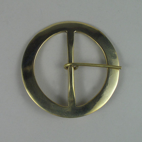 Solid brass re-enactment buckle inside diameter is 3 inches.