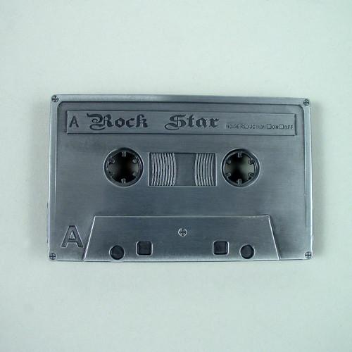 Cassette Tape Belt Buckle Fits 1 1/2 Inch Wide Belt.