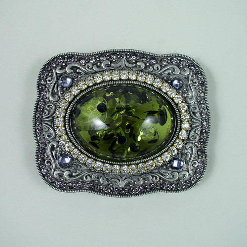 Floating Stone Belt Buckle Fits 1 1/2 Inch Wide Belt.