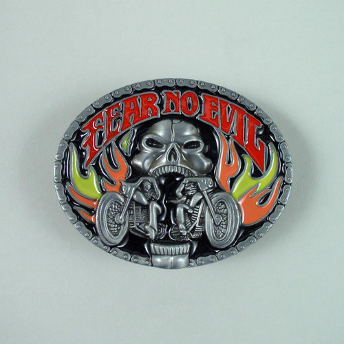 Fear No Evil Belt Buckle Fits 1 1/2 Inch Wide Belt.