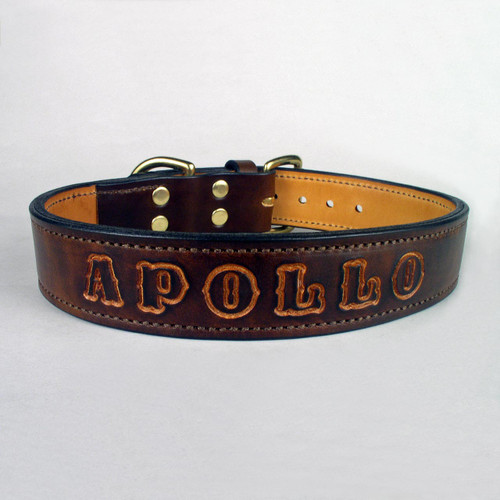 Brown imprinted tough dog collar with undyed name.