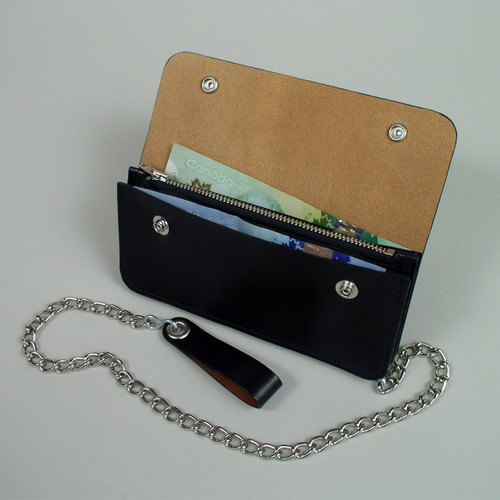 Leather biker wallet with zipper pocket and other divider pockets.
