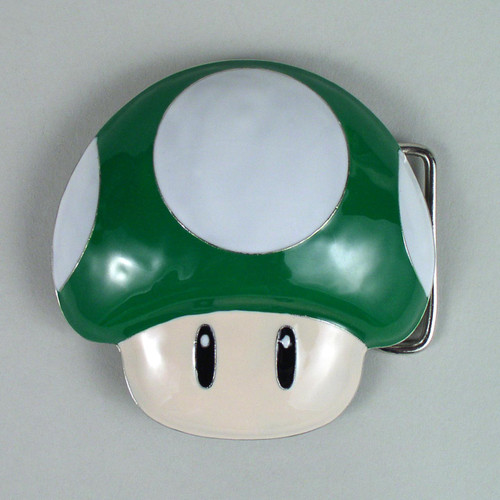 Nintendo Mushroom Belt Buckle Fits 1 1/2 Inch Wide Belt.