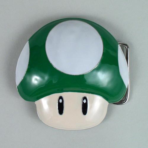 Nintendo Mushroom Belt Buckle Fits 1 1/2 Inch Wide Belt.