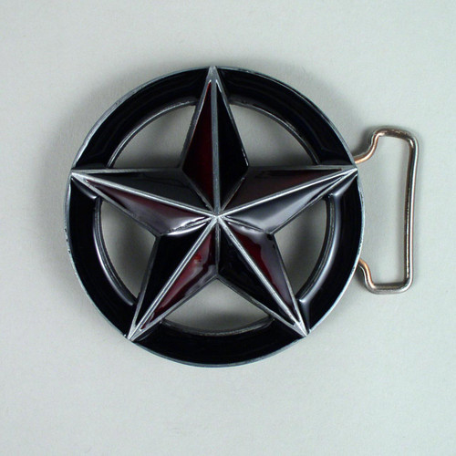 3D Star Belt Buckle Fits 1 1/2 Inch Wide Belt.