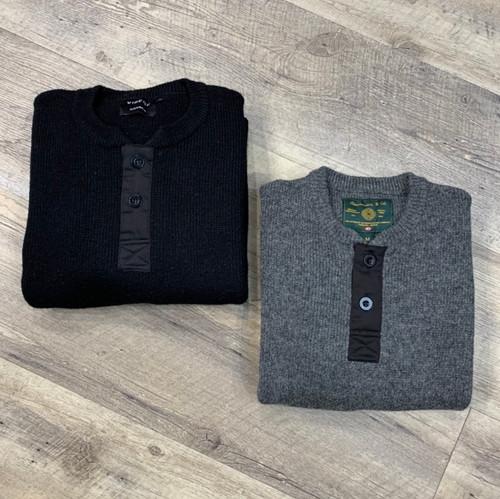 VIBERG/RAWMAN  Long Sleeve Wool Henley (JCC9982)