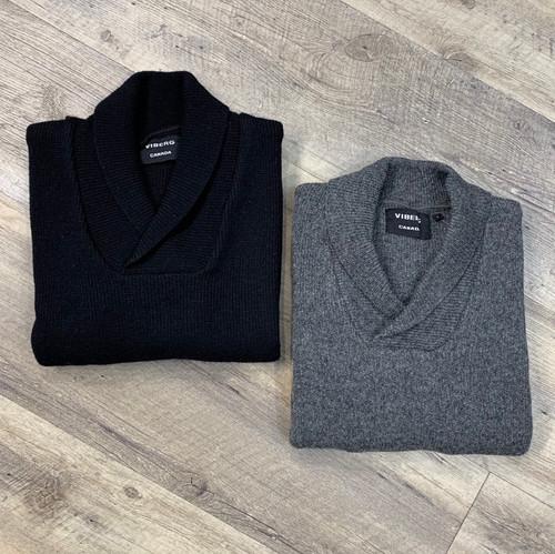 VIBERG/RAWMAN Long Sleeve Shawl Wool Sweater (JCC9985)