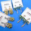 "Popular 2"" Gold & Silver Pineapple/Palm Tree Earrings w/ Stones  .58 per pair"