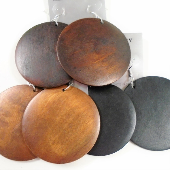 "2.25"" Round Wood Fashion Earring Browns/Black .54 ea"