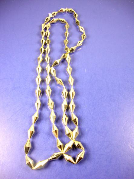 """46"""" Gold Dia. Cut Mardi Gras Beads 12 per pk"""