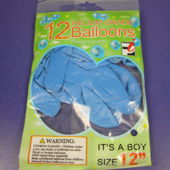 12 Ct Helium Grade It's A Boy Blue Balloons 24-12 pks per bag