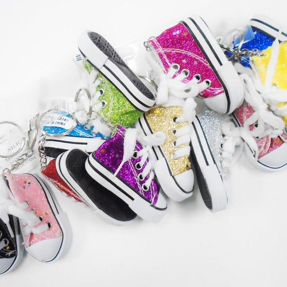 """3"""" Glitter Sneaker Keychain Asst Colors .62 ea"""