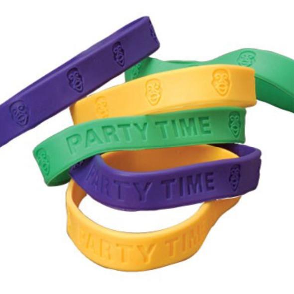 Mardi Gras Rubber Band Bracelets 12 per pk .16 ea