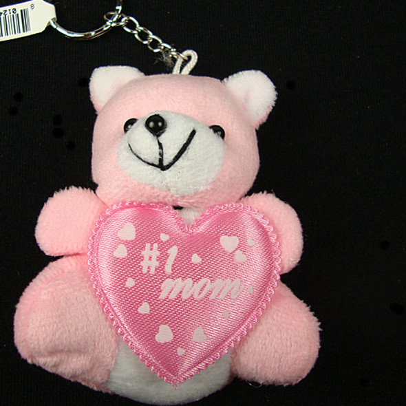 "3.5"" Love Mom Pink Plush Bear Key Chain SO CUTE  .60 each"