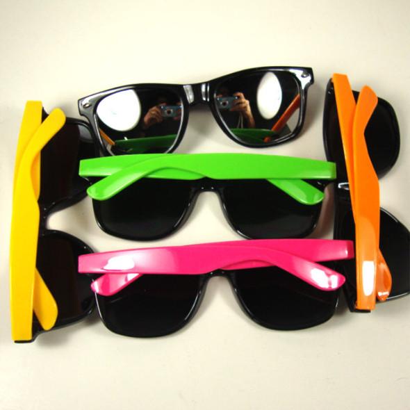 Wayfarer Look Fashion Sunglasses Neon Two Tone Colors w/ Mirror Lenses