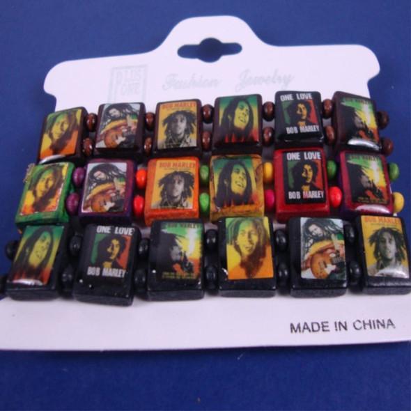 3 Pack Rasta Theme Stretch Wood Bracelets  .56per set of 3