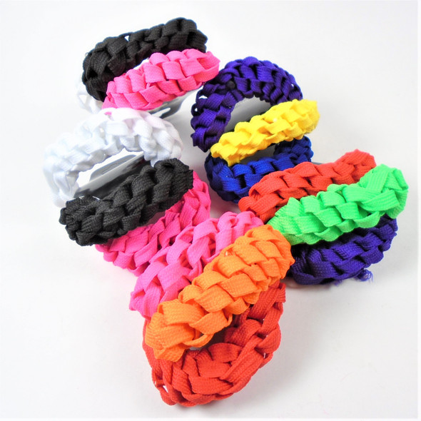 3 Pack Neon Color Braided Shoelace Hair Twisters 12-3 pks per bag