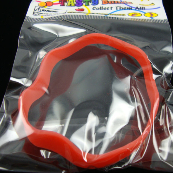 Tasty Silicone Bands Stackable & Scented Novelty Wavy Bands Red sold by dz