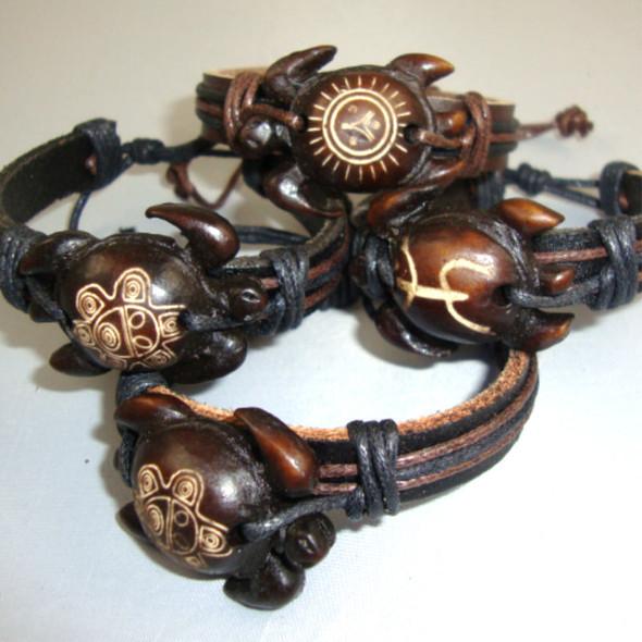 Teen Leather Bracelet w/ Mixed Style Wood Turtle .56 each