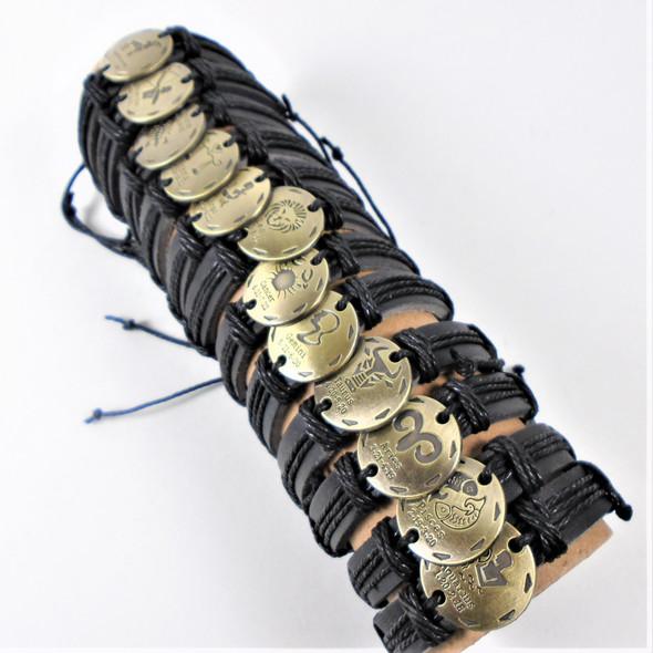 Teen Leather Bracelet Black w/ Gold Zodiac Signs .58 ea