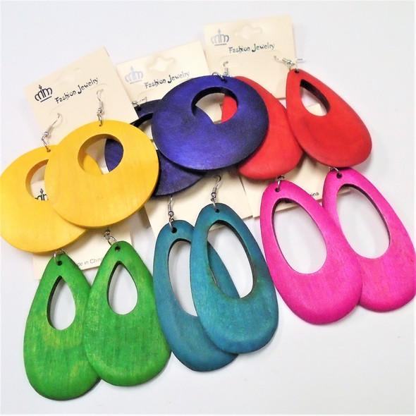 "2.5"" Asst Color Wood Fashion Earrings 3 Shapes per dz (97B)"