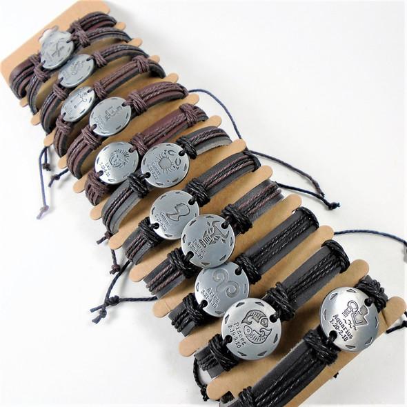 Teen Leather Brown/Blk Bracelet w/ Rd. Silver Zodiacs .54 ea