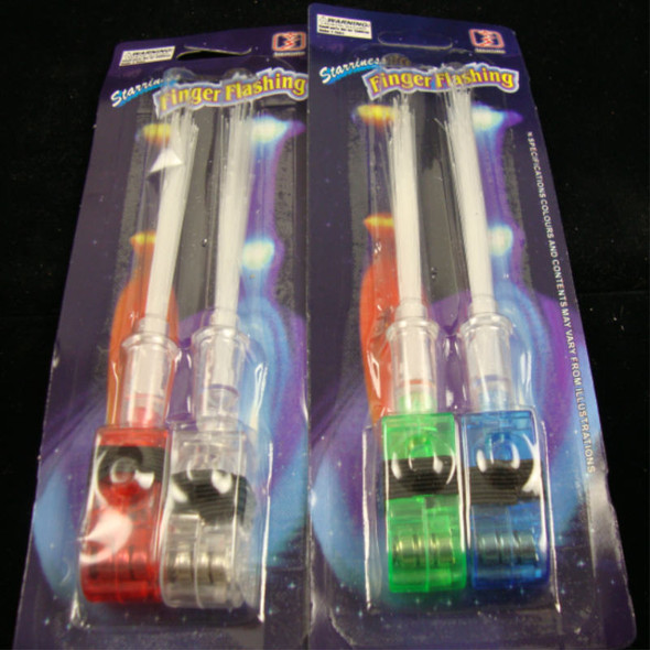 "2 Pack 5"" Flashing Fiber Optic Finger Rings 12-2 pks per bag  .49 per set"