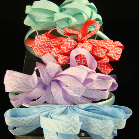"Satin Headband w/ 4"" Multi Ribbon Chevron Print Bow .50 ea"