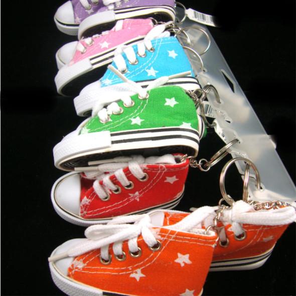 "3"" Sneaker Keychain w/ Star Imprint Asst Colors  .65 EA"
