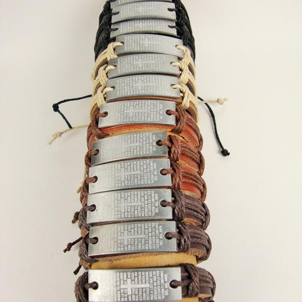 Teen Leather Bracelet w/ The Lord's Prayer (Spanish) .54 ea