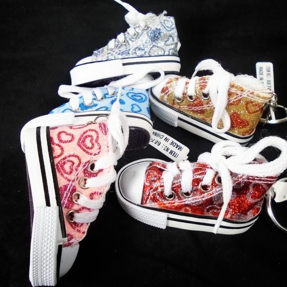 """3"""" Fancy Sneaker Keychain Glitter Heart Pattern .66 ea"""