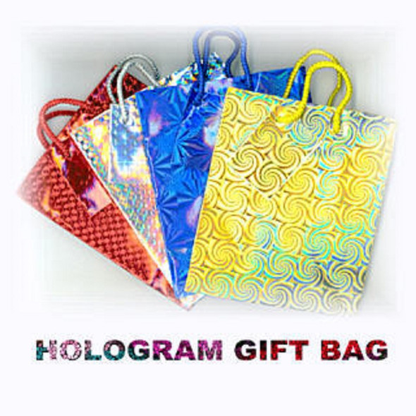 """Hologram Gift Bags Small Size Asst Colors 4.5"""" X 6"""" .26 ea"""