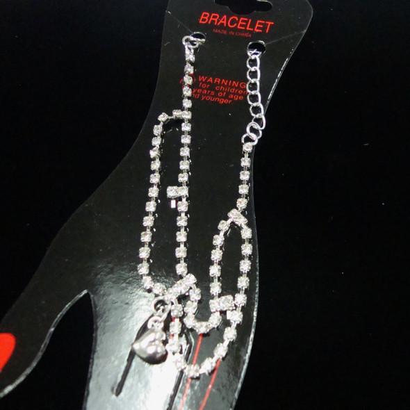 Gold/Sil DBL Line Rhinestone Fashion Bracelet .44 ea