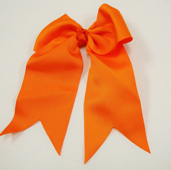 "6"" X 8"" All Orange Gator Clip Bow w/ Tails .54 ea"
