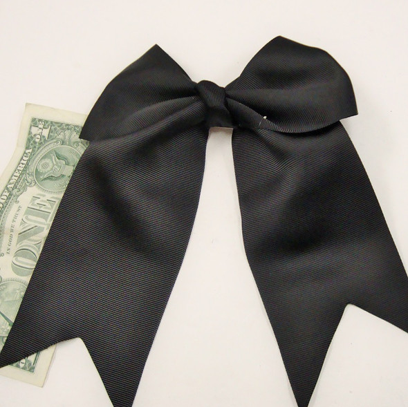 "6"" X 8"" All Black Color Gator Clip Bow w/ Tails .54 ea"