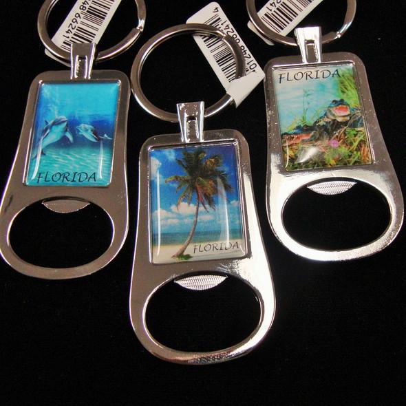 """2.75"""" Scenic Metal Florida Keychain w/ Bottle Opener .54 ea"""