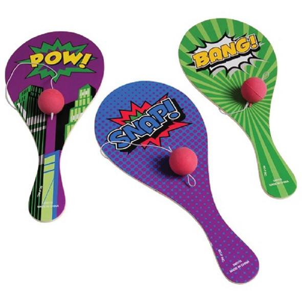 "9"" Super Hero Theme  Paddle Balls .41 ea"
