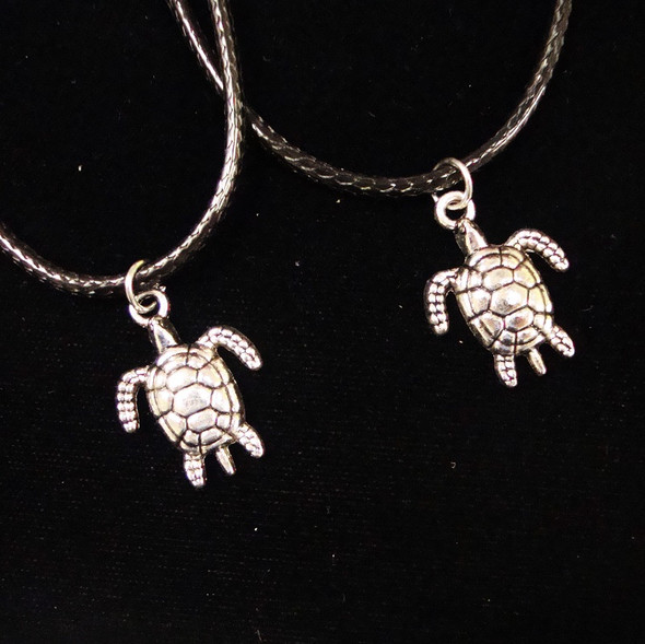 Leather Cord Necklace w/ Cast Metal Silver Turtle Pendant 24 per pack .30ea