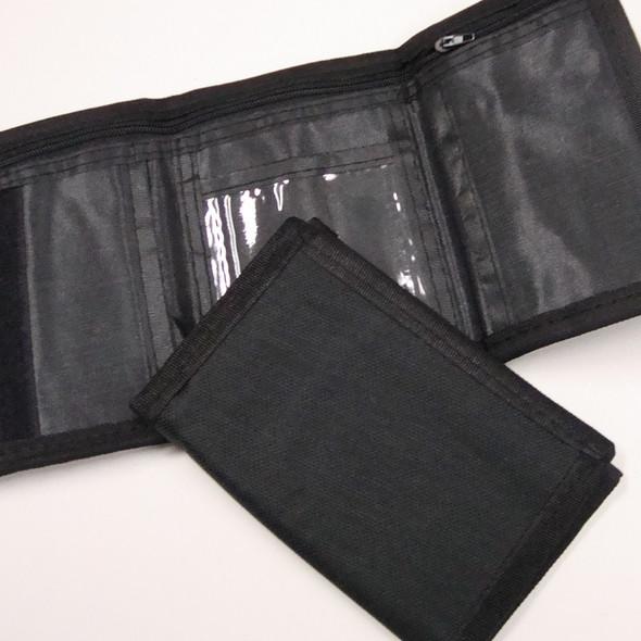 Unisex All Black Tri Fold Velcro Wallets .62 ea